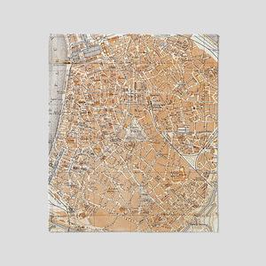 Vintage Map of Antwerp Belgium (1905 Throw Blanket