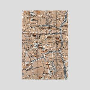 Vintage Map of Bruges (1905) Rectangle Magnet