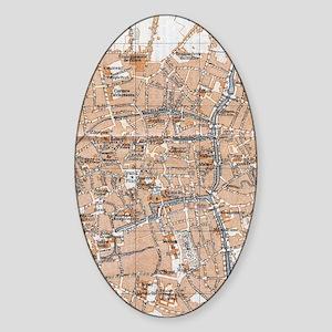 Vintage Map of Bruges (1905) Sticker (Oval)
