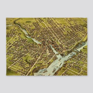 Vintage Pictorial Map of Bangor Mai 5'x7'Area Rug