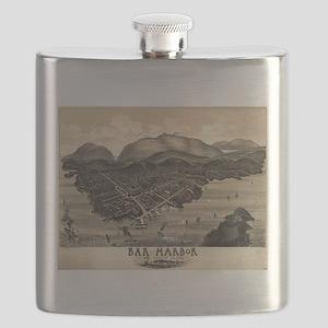 Vintage Pictorial Map of Bar Harbor (1886) Flask