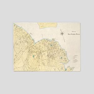 Vintage Map of Bar Harbor Maine (18 5'x7'Area Rug