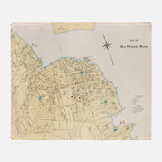 Vintage Map of Bar Harbor Maine (189 Throw Blanket