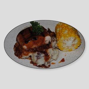 Barbecue Chicken and Corn  Sticker (Oval)
