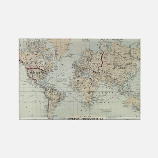 Vintage Map of The World (1875) Rectangle Magnet