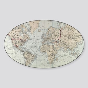 Vintage Map of The World (1875) Sticker (Oval)
