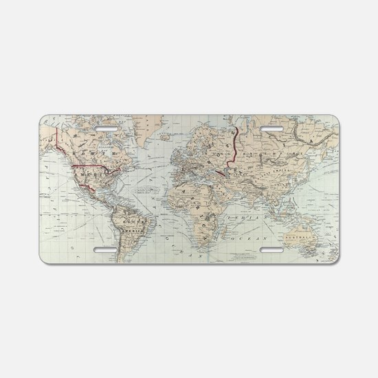 Vintage Map of The World (1 Aluminum License Plate