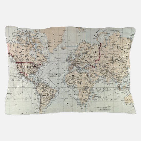 Vintage Map of The World (1875) Pillow Case