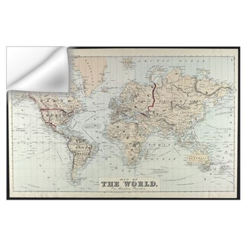 World map wall decals world map wall stickers wall peels vintage map of the world 1875 wall decal gumiabroncs Choice Image