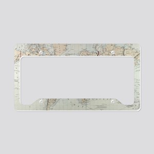 Vintage Map of The World (187 License Plate Holder