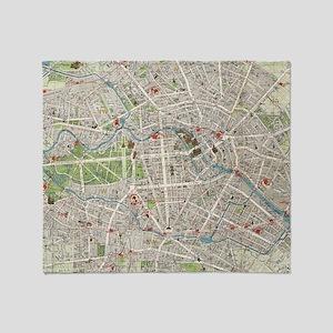 Vintage Map of Berlin Germany (1905) Throw Blanket