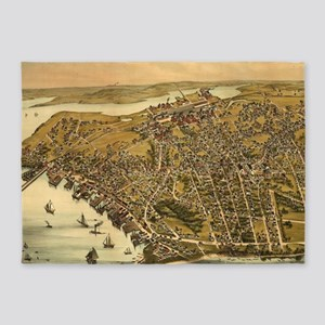 Vintage Pictorial Map of Beverly MA 5'x7'Area Rug