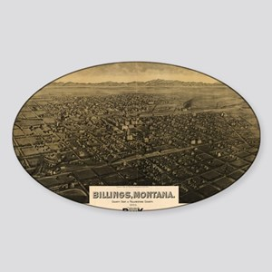 Vintage Pictorial Map of Billings M Sticker (Oval)