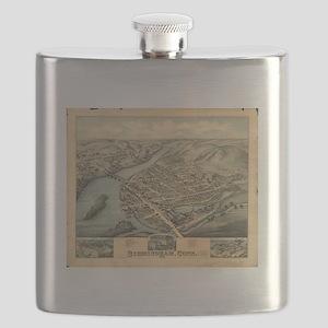 Vintage Pictorial Map of Birmingham CT (1876 Flask