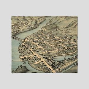 Vintage Pictorial Map of Birmingham  Throw Blanket