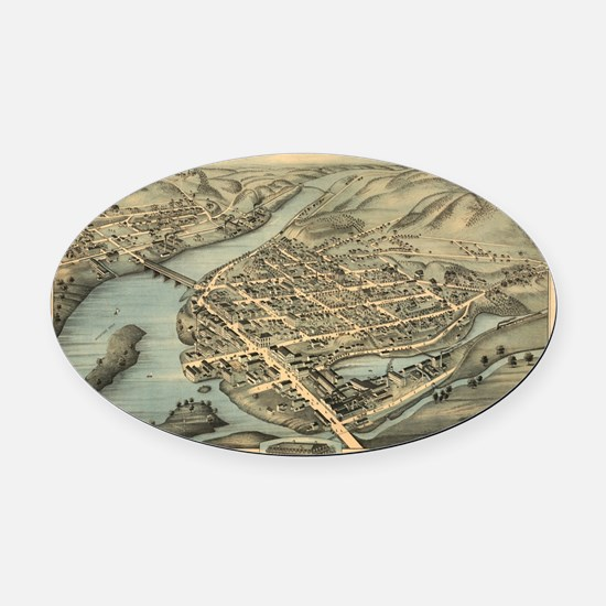 Vintage Pictorial Map of Birmingha Oval Car Magnet