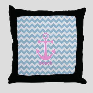 Blue Chevron Anchor Throw Pillow