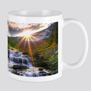 River Waterfall In The Mountains Mugs