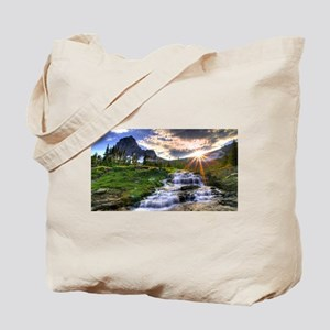 River Waterfall In The Mountains Tote Bag