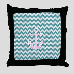 Nautical Blue Chevron Throw Pillow