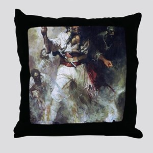 Blackbeard in Smoke and Flames Throw Pillow