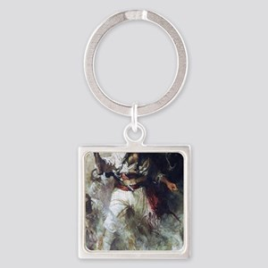 Blackbeard in Smoke and Flames Square Keychain