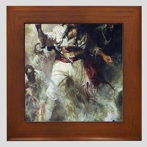 Blackbeard in Smoke and Flames Framed Tile