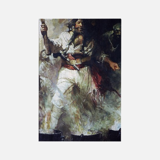 Blackbeard in Smoke and Flames Rectangle Magnet