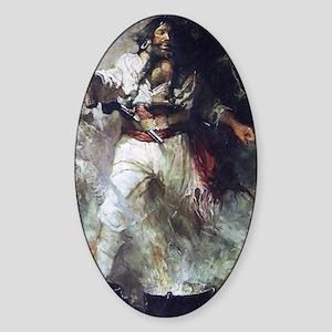 Blackbeard in Smoke and Flames Sticker (Oval)