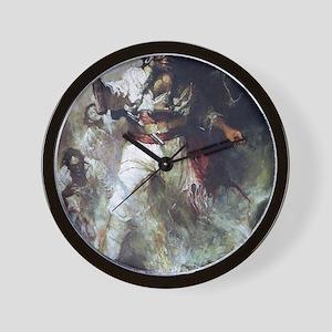 Blackbeard in Smoke and Flames Wall Clock