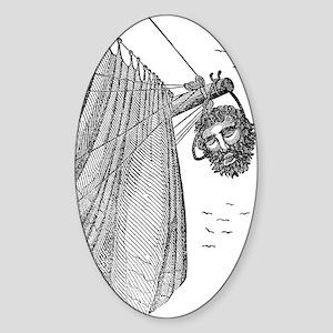 Blackbeard's Head Being hung from t Sticker (Oval)