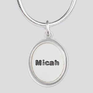 Micah Wolf Silver Oval Necklace