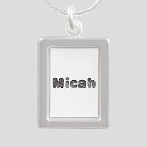 Micah Wolf Silver Portrait Necklace