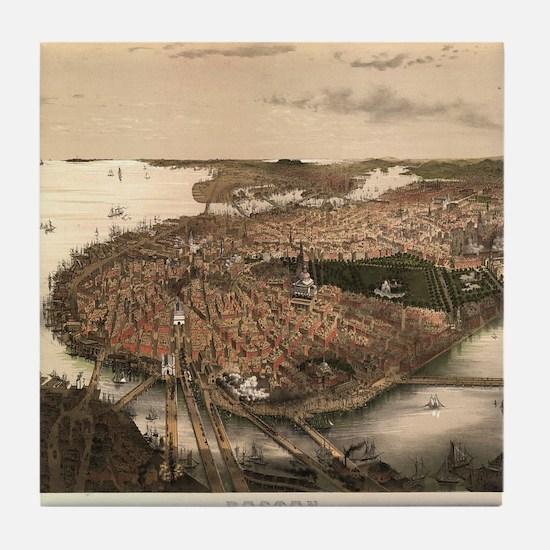 Vintage Pictorial Map of Boston (1877 Tile Coaster