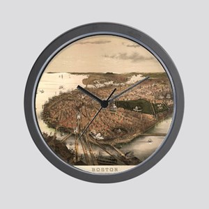 Vintage Pictorial Map of Boston (1877) Wall Clock