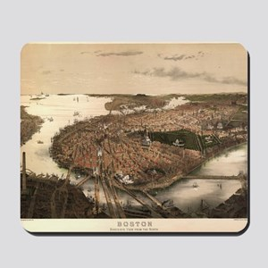 Vintage Pictorial Map of Boston (1877) Mousepad