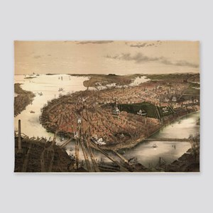 Vintage Pictorial Map of Boston (18 5'x7'Area Rug