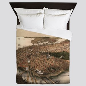 Vintage Pictorial Map of Boston (1877) Queen Duvet