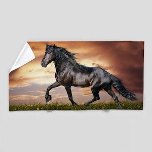 Beautiful Black Horse Beach Towel