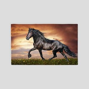 Beautiful Black Horse Area Rug