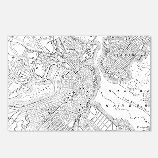 Vintage Map of Boston (18 Postcards (Package of 8)