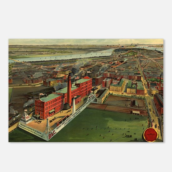 Vintage Pictorial map of  Postcards (Package of 8)