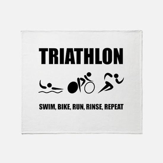 Triathlon Rinse Repeat Throw Blanket