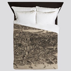 Vintage Pictorial Map of Boston (1905) Queen Duvet