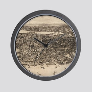 Vintage Pictorial Map of Boston (1905)  Wall Clock