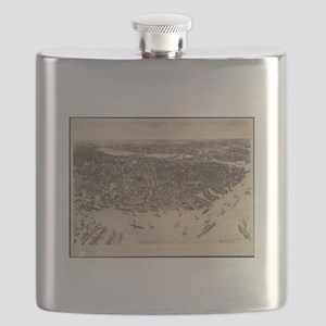 Vintage Pictorial Map of Boston (1905) (2) Flask
