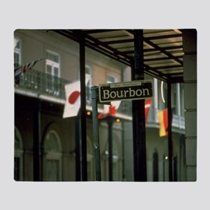 Bourbon Street Sign in New Orleans Throw Blanket
