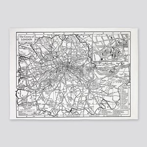 Vintage Map of London England (1911 5'x7'Area Rug