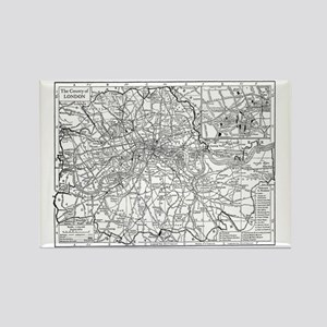 Vintage Map of London England (19 Rectangle Magnet
