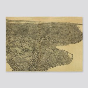 Vintage Pictorial Map of Brooklyn N 5'x7'Area Rug